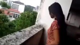 Telugu it girl showing puku to lover in terrace