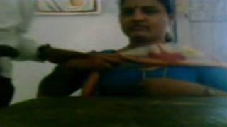Telugu office aunty boobs sucked while working